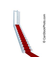 lépcsőház, door., kinyitott, piros felhint