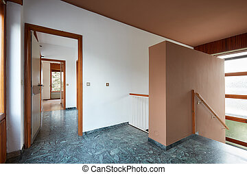 lépcsőház, emelet, épület, zöld, folyosó, ország, márvány