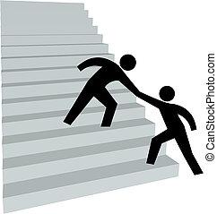 lépcsőház, segítség, tető feláll, kéz, ételadag, barát