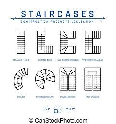 lépcsőházak, tető, áttekintés, vektor, mód, kilátás