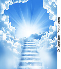 lépcsősor, ég