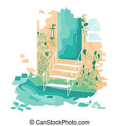 lépcsősor, ólmozás, vektor, ajtó, illustration.