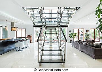 lépcsősor, szoba, modern, fényűzés