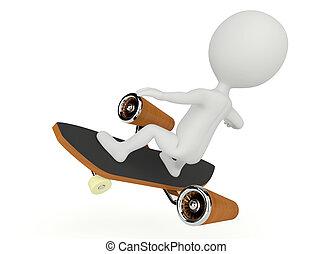 létat, charakter, skateboard, humanoid, 3