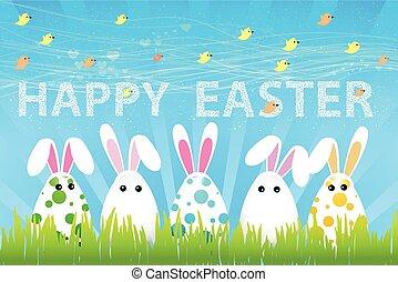 létat, vejce, ptáci, králík satý