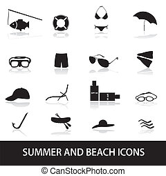 léto, a, pláž, ikona, eps10