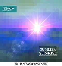 léto, abstraktní, vektor, východ slunce, grafické pozadí.