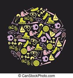 léto, dát,  eps10, sportovní, vybavení, kruh, ikona