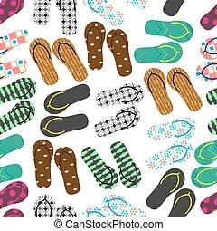 léto,  eps10, obuv, barvitý, model, hodit si, variace,  seamless, Uchnout