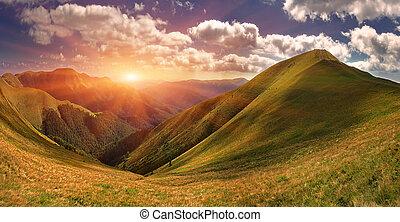 léto, krajina, do, ta, hora., východ slunce