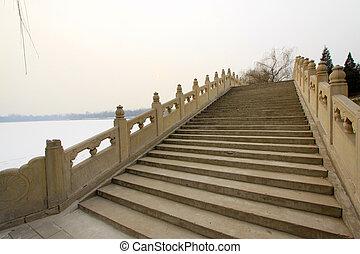 léto, starobylý, dávný, palác, můstek, sad, čína, beijing, troska
