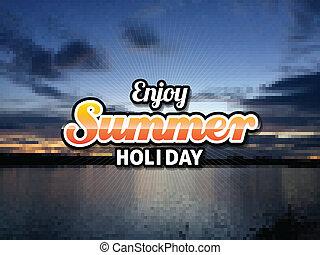 léto, východ slunce, nebo, západ slunce, grafické pozadí