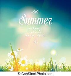 léto, východ slunce, nebo, západ slunce, grafické pozadí.
