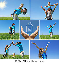 léto, ve volné přírodě, rodina, koláž, -, šťastný