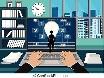 létra, lépcsőfok, lábnyom, bulb., pénzel, screen., jár, laptop, siker, ellenző, ügy, leadership., fogalom, fény, goal., ajtó, eleje kilátás, üzletember, feláll, álló