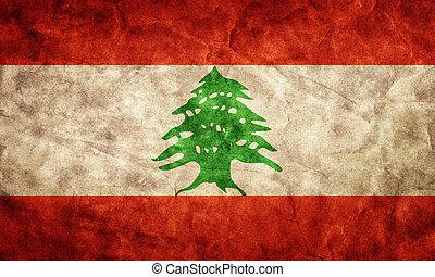 líbano, grunge, flag., item, de, meu, vindima, retro,...