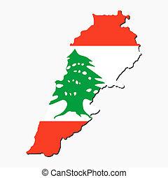 líbano, mapa, bandeira