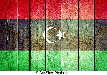 líbia, madeira, grunge, flag.