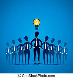 líder, com, idéia nova, conceito