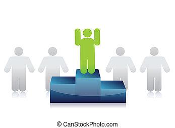 líder, de, a, grupo, ilustração