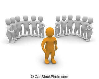líder, e, dois, groups., 3d, representado, illustration.