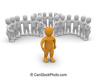líder, e, seu, equipe, em, experiência., 3d, representado, illustration.