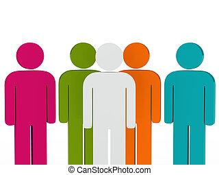 líder equipe, coloridos, pessoas