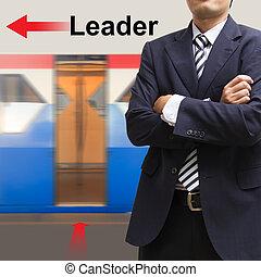 líder, ligado, a, céu, treine estação
