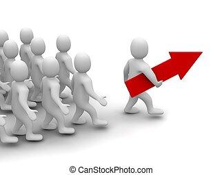líder, ligado, seu, maneira, para, sucesso