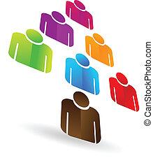 líder, negócio, trabalho equipe, árvore, logotipo