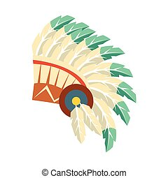 líder, norte, plumas, objeto, aislado, símbolo, gorra, ...