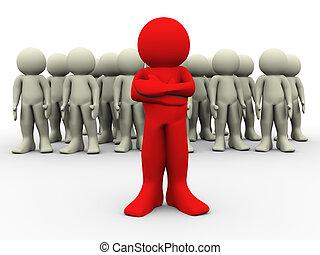 líder, rojo, 3d