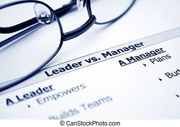 líder, vs., gerente