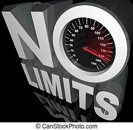 límites, no, ilimitado, potencial, palabras, velocímetro