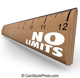 límites, no, regla, ilimitado, potencial, palabras
