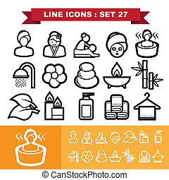 línea, 27, conjunto, iconos