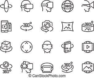 línea, 360 grado, iconos