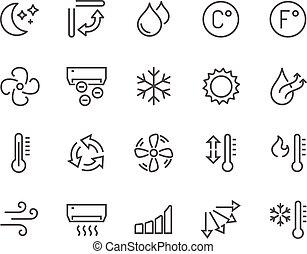 línea, aire acondicionado, iconos