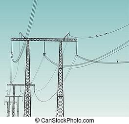 línea, aves, potencia