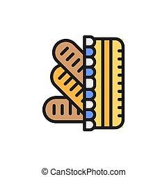 línea, baguettes, francés, icon., cesta del pan, color,...
