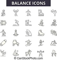 línea, balance, móvil, signs., tela, contorno, golpe, ilustraciones, editable, iconos, concepto, design.