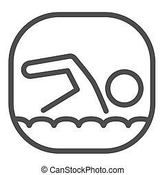 línea blanca, icono, mar, tela, vector, móvil, hombre, nada, concepto, plano de fondo, nadador, estilo, concepto, contorno, náutico, design., natación, señal, icono, graphics.