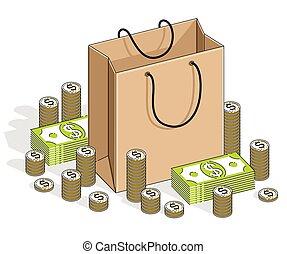 línea, blanco, moneda, venta, pilas, pilas, concepto, ...