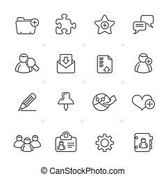 línea, blog, y, iconos del internet