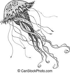 línea, bosquejo, negro, garabato, medusa, medusa