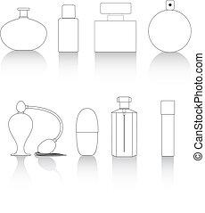 línea, botellas, llave, perfume