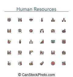 línea, coloreado, recursos humanos, iconos