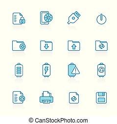 línea, con, fondo azul, internet, tela, y, móvil, iconos