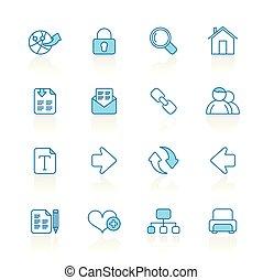 línea, con, fondo azul, internet, y, navegación de web, iconos