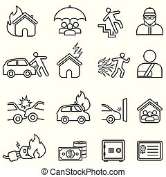 línea, conjunto, seguro, icono